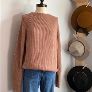 Vintage Blush Ribbed Mock Neck Sweater